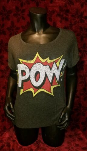 MEDIUM Pow Pop Art Oversized Sheer T-shirt Punk Ro