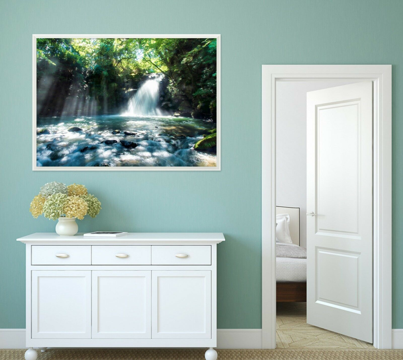 3D Sun Forest Creek 33 Framed Poster Home Decor Print Painting Art AJ WALLPAPER