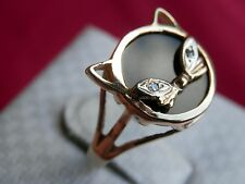 14K Solid Yellow Gold Black Onyx Diamond Eyes Cat Feline Ring Size 8.25