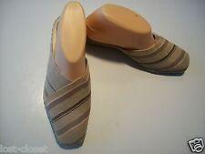 LifeStride Life Stride Jess Tan Striped Canvas Mule Wedge Shoes Size 7 @ cLOSeT