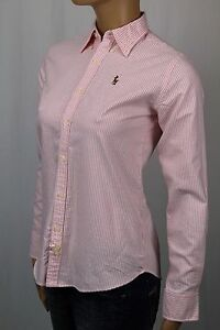 Ralph-Lauren-Pink-Classic-Fit-Oxford-Striped-Blouse-Shirt-Multi-Colored-Pony-NWT