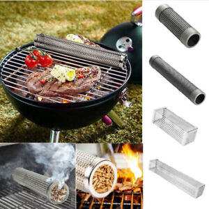 BBQ-Mesh-Smoker-Tube-Square-Round-15-30CM-Barbecue-Grill-Hot-Cold-Pellet-Smoker