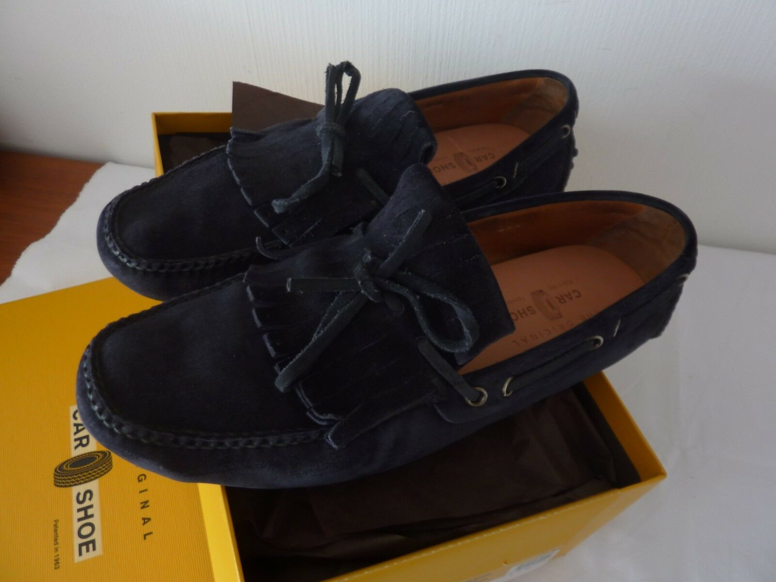 CAR CAR CAR SHOE by PRADA SLIPPER SCHUHE KKD010 BLAUES WILDLEDER  Gr. 8,5-42-43 96926d