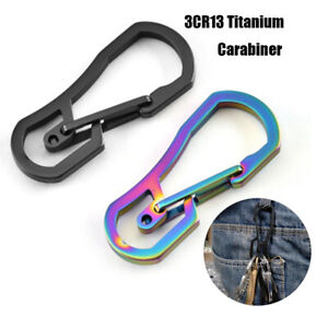 Titanium-Plating-Climbing-Carabiner-Camping-Clip-Key-Ring-Hook-Keychain-Holder