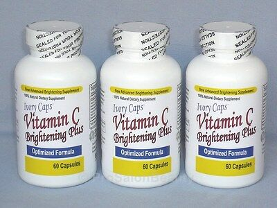 IVORY CAPS PILLS VITAMIN C BRIGHTENING PLUS- 3 BOTTLES (AUTHORIZED DISTRIBUTOR)