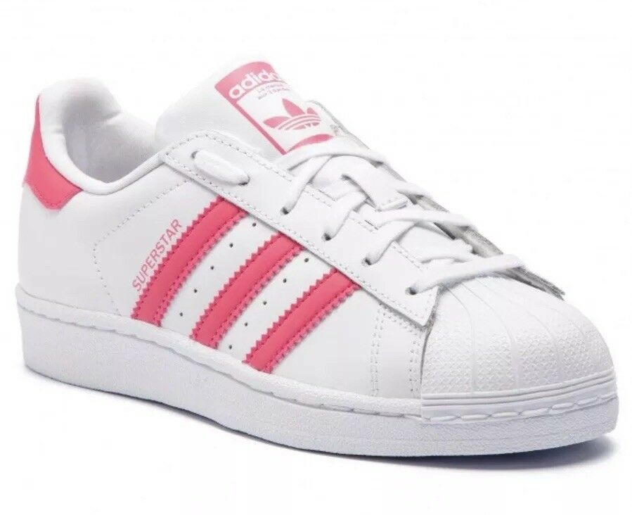 Adidas Superstar J White Pink Trainers Kids Size