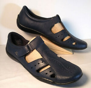 New Dr Scholls Womens 11 M Leather T Strap Navy Blue