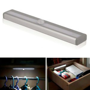 10 Led Pir Motion Sensor Under Cabinet Strip Light Bar Cupboard Night Light Lamp Ebay