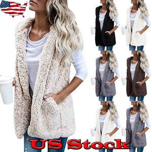 Womens-Winter-Hooded-Outwear-Jacket-Faux-Fur-Vest-Coat-Sleeveless-Warm-Waistcoat