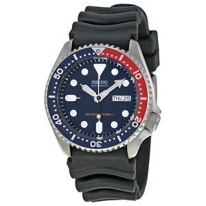 Seiko SKX009 Automatic Blue Red Rubber Strap 200m Scuba Diver Watch SKX009K1