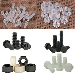 Plastic-Screw-Nut-Bolt-M3-M4-M5-M6-M8-M10-Hex-Cap-Clear-Nylon-Round-Bolts-Screws