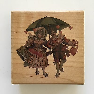 Rubber Stampede To My Love Victorian Valentine Stamp 606-H Umbrella Hearts Kids