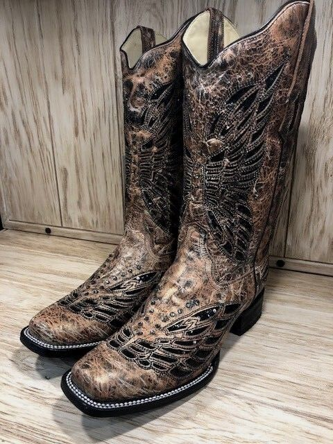 96cd9c19b44 Corral Women's Bronze & Black Crystal Butterfly Inlay Square Toe Boots R1226