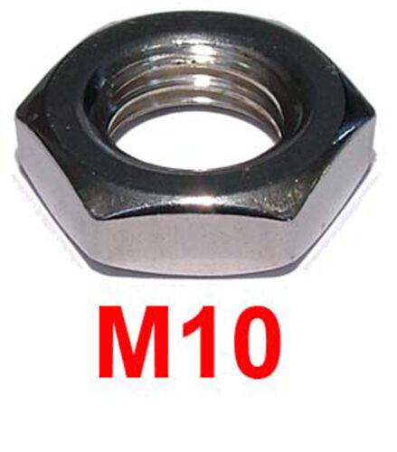 metà NUTS M10 x 1,25 M10 x 1.25 mm in acciaio inox metrica BELLE pitch Dadi di bloccaggio