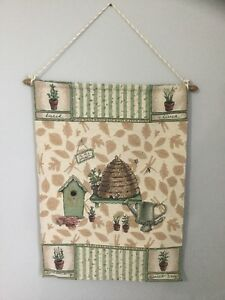 Wall-Hanging-Tapestry-Honeybee-Bees-Gardening-Theme-Sunroom-W-Rod-Country-Chic
