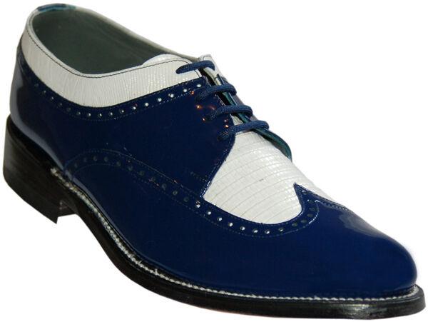 Stacy Baldwin Wingtip Oxford Royal blu e bianca Patent Leather Tuxedo sautope Sautope classeiche da uomo