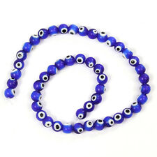 2Strings Evil Eye Patterns Round Royalblue Loose Lampwork Glass Spacer Beads BS