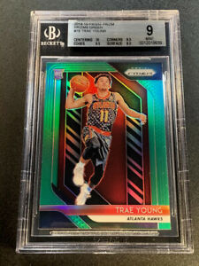 TRAE-YOUNG-2018-PANINI-PRIZM-78-GREEN-REFRACTOR-ROOKIE-RC-BGS-9-F