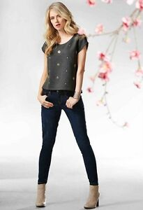 Casual-Top-sparkly-rhinestones-Blouse-decorated-size-6-8-10-12-14-16-Women-Girls