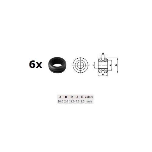 A: 10mm 6x Passacavo pvc NERO d: 5mm B: 2mm