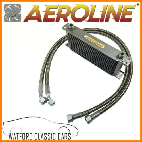 MGB 1976-1982 Aeroline Silver 13 Row Oil Cooler With Stainless Steel Hoses
