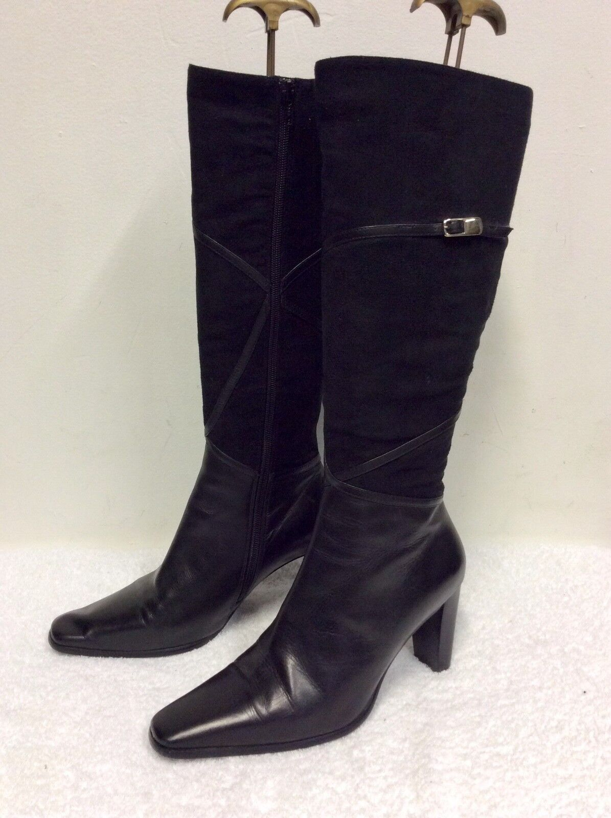 Roberto Vianni Negro Cuero rodilla Suede & la rodilla Cuero botas altas talla 5 38 38e524