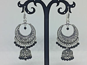 New Design Indian Pakistani Ethnic Bollywood Oxidised Silver Jhumki