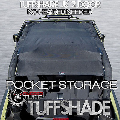 TUFFSHADE JK 2 DOOR JEEP WRANGLER DUAL STORAGE BIKINI SUN SHADE MESH SHIELD TOP