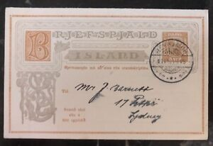 Details About 1910 Reykjavik Iceland Postal Stationary Reply Postcard Cover To Usa H G 38