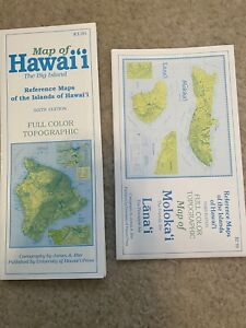 Hawaii Molokai Lanai Topographic Map 1990's Color Vintage Cartography Island