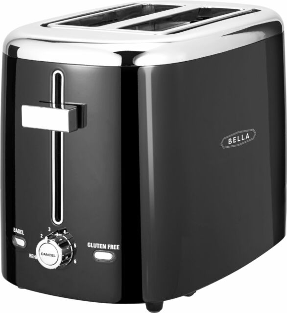Bella - 2-Slice Extra-Wide/Self-Centering-Slot Toaster - Black With Stainless...