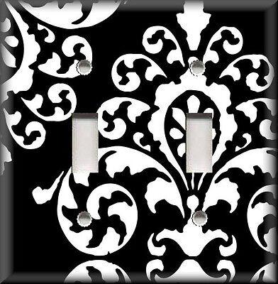 Metal Light Switch Plate Cover Black White Flourish Damask Home Decor Design