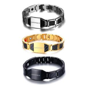 Men-039-s-Biker-Stainless-Steel-Carbon-Fiber-Magnetic-Bracelet-Chain-Free-Engraving