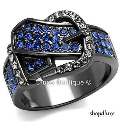 WOMEN'S ROUND CUT CZ BLACK STAINLESS STEEL BELT BUCKLE FASHION RING SIZE 5-10