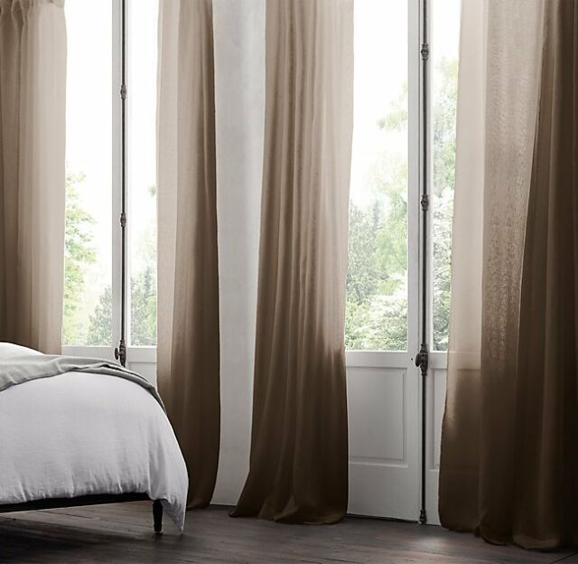 New Restoration Hardware Linen Rod Pocket Sheer Curtain Mocha 100x96 Double Wide