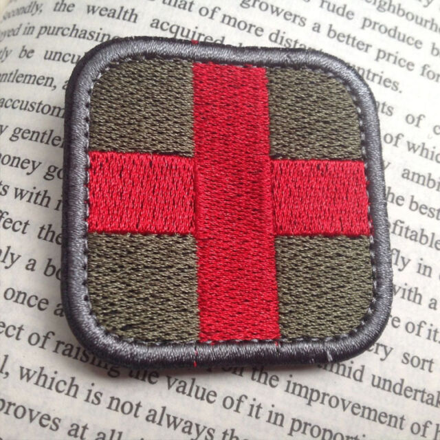 """2/"""" OD Green Medic Red Cross Paramedic Patch VELCRO BRAND Fastener Compatible"""