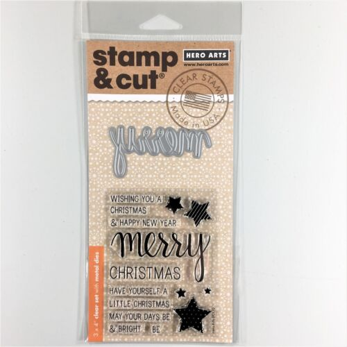 Hero Arts Stamp /& Cut Merry Clear Stamp And Die Set Christmas Greetings Phrases