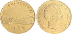 Wurtzbourg-Baviere-Neujahrsgulden-Ludwig-I-1825-1848-Rarement-Ss-Vz