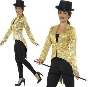 Detalles de Mujer Dorado Disfraz Frac Lentejuelas Chaqueta Cabaret Showman Disfraz Smiffys