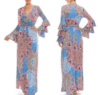 XL Janette BLUE SNOWFLAKE Long GYPSY SLEEVE Faux Wrap MAXI DRESS Travel Vtg 70s