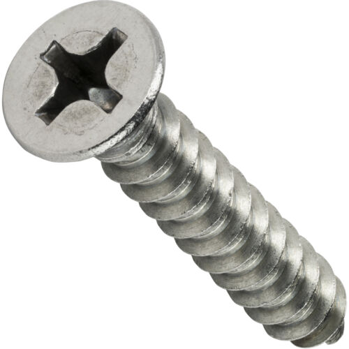 "#8 x 3//8/"" Phillips Flat Head Sheet Metal Screws Stainless Steel Qty 50"