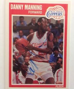 Danny Manning 1989 Fleer Hand Signed Card Los Angeles Clippers RACC