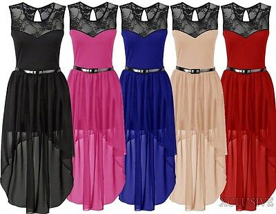 Womens Plus Size Lace Belted Chiffon Drop Back Hem Maxi Dress Prom Dresses 16-26