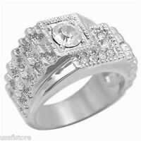 Mens Classic Style Crystal Pave Silver Rhodium Ep Ring