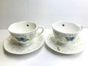Lenox Porcelain Butterfly Meadow Tea Cup & Saucer Set China Ladybug  Set Of 2