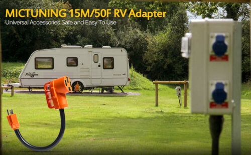 125V//1875W RV Electrical Power Cord Adapter 15A male to 50A female Dogbone Plug