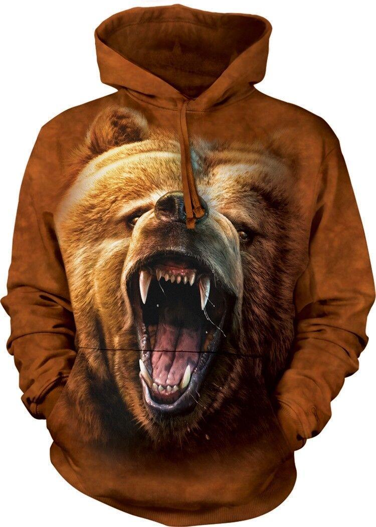 ORSO Grizzly Growl Adulti Felpa Con Cappuccio la montagna