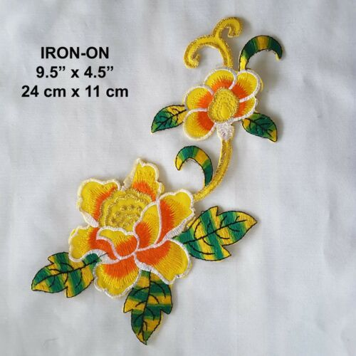 Yellow Green Lily Iron-on Flower Embroidered Patch Dress Floral Cosplay Applique