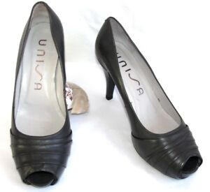 e4617841336b UNISA Court shoes heels 9.5 cm + plateau tips open leather grey 40 ...