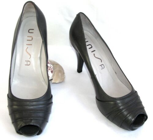 Open Heels Tips 9 Grigio Pumps nuovo Plateau 5 Come 40 Cm Pelle Unisa Y0dwqY